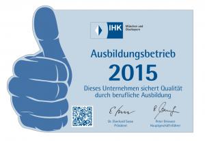 IHK Ausbildungsbetrieb 2015 - Dieses Unternehmen sichert Qualität durch berufliche Ausbildung