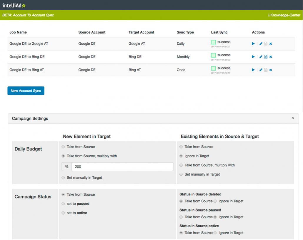 intelliAd Bid Management: Account-To-Account Sync