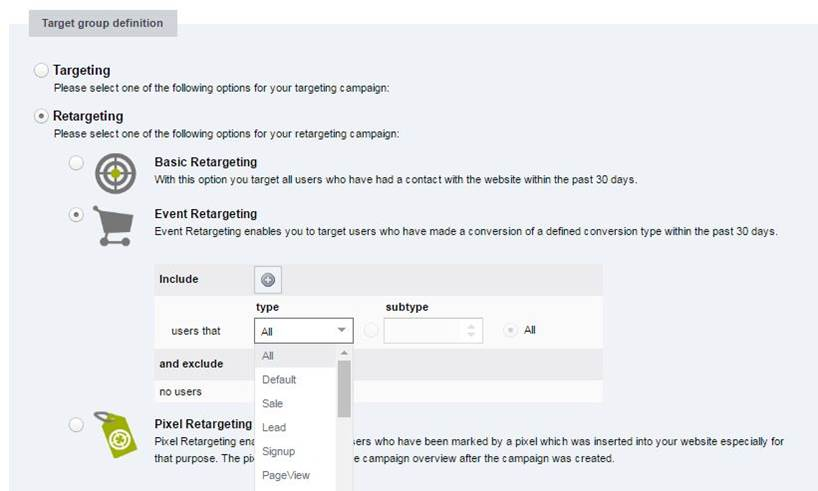 Programmatic Advertising front end: targeting and retargeting options